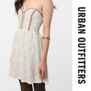 UO Pins & Needles Strapless Lace Dress Bustier